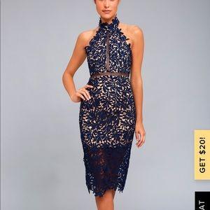 Devine Destiny Navy Lace Dress - Size medium
